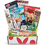 Beef Jerky Sampler Gift Box: Variety Of Healthy Beef Meat Sticks, Pork Rinds, Exotic Jerky, Epic Bars, Chomps Beef Sticks Perfect Care Package Gifts For Men