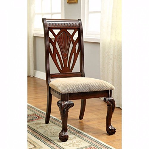 Benzara BM131194 Traditional Side Chair, Set of Two, Brown Petersburg (Set of 2), Cherry Finish