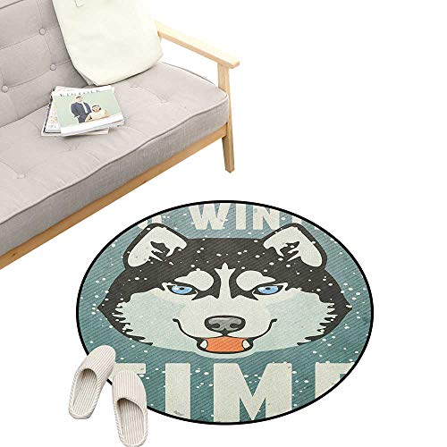 (Alaskan Malamute Custom Round Carpet ,Its Winter Time Retro Poster Dog Face Falling Snowflakes, The Custom Round Non-Slip Doormat 47
