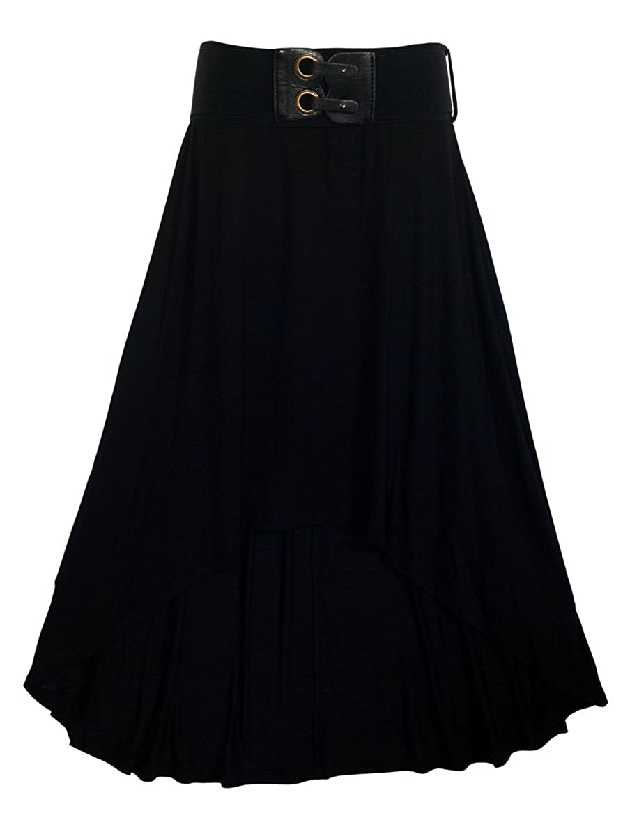 eVogues Plus size High Low Skirt with Elastic Belt Black L20121209A_BLK-0001