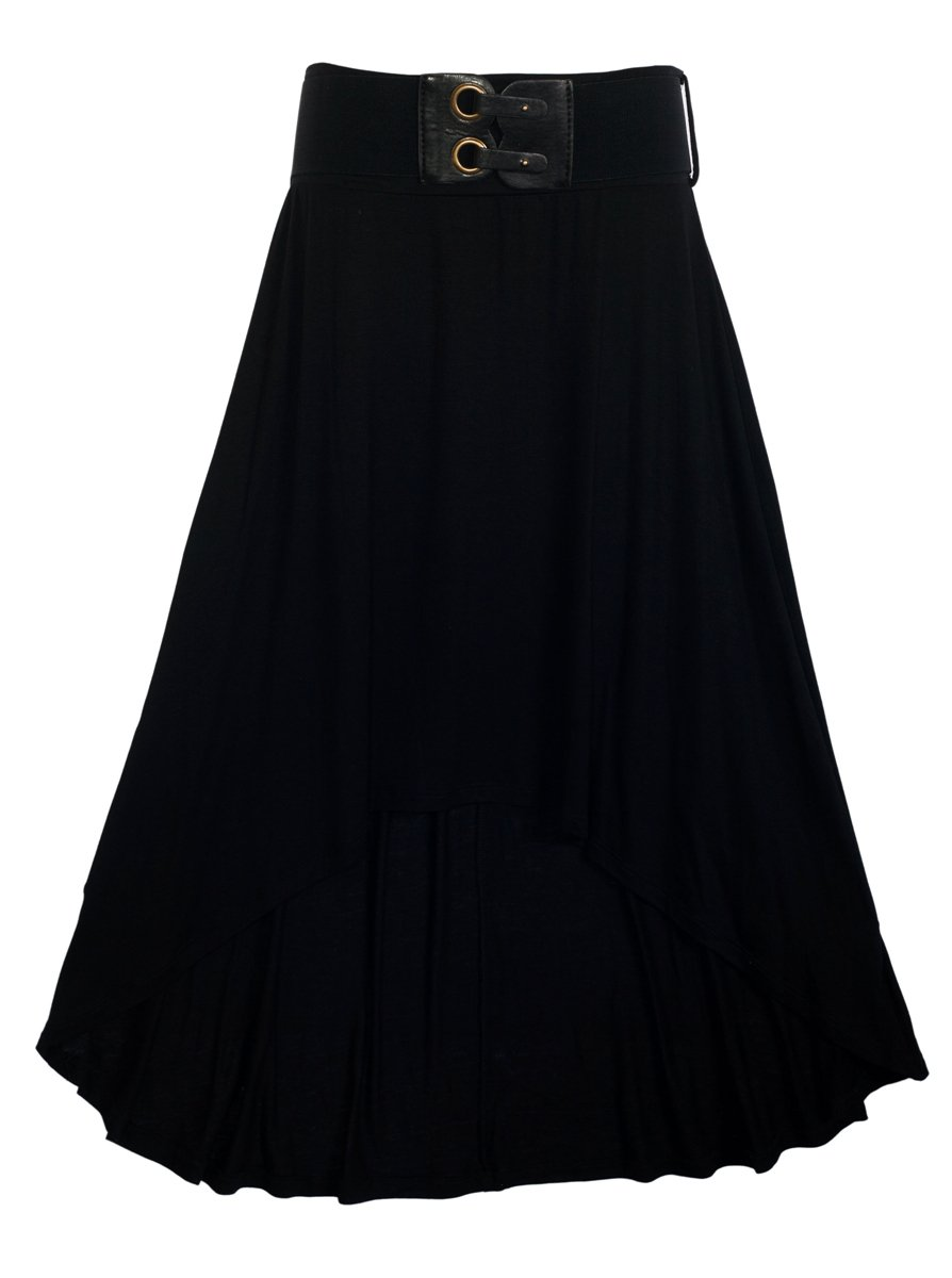 eVogues Plus size High Low Skirt with Elastic Belt Black - 3X