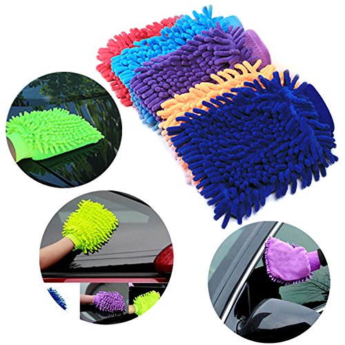 Iuhan New Easy Microfiber Car Kitchen Household Wash Washing Cleaning Glove Mit (Color Random) (Multicolor) by Iuhan (Image #1)