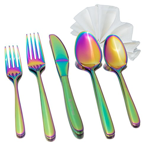 - Rainbow Flatware Set with Napkin, 5 piece Premium 18/8 Stainless Steel Service for 1 Person, in a Gift Box