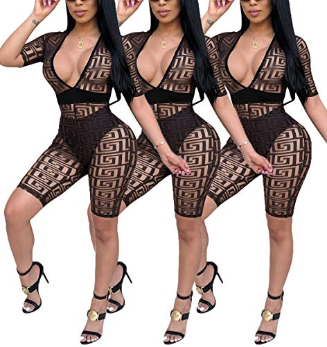 Deloreva Women Romper and Jumpsuit - Sexy One Piece Club Summer Outfits Sheer Mesh Short Pant Suits Black XL