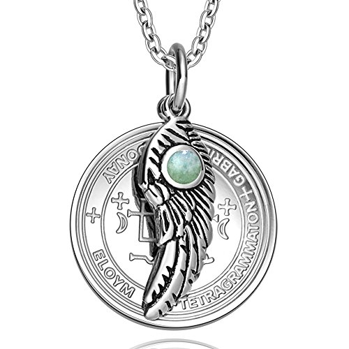 Archangel Gabriel Sigil Amulet Magic Powers Angel Wing Charm Green Quartz Pendant 18 Inch Necklace
