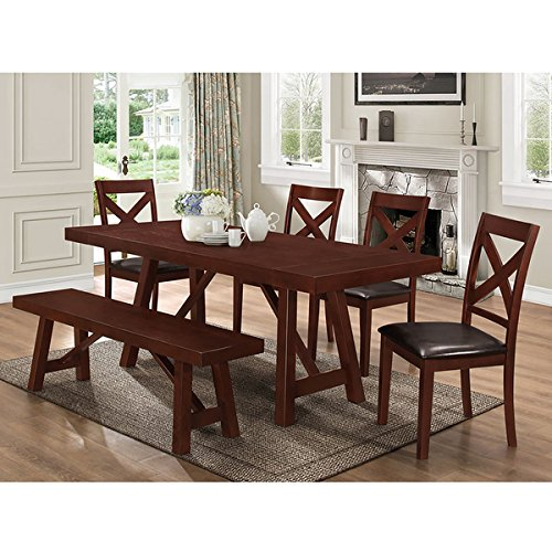 Brown Solid Wood 60-inch Trestle Dining Bench (60 Inch Trestle Dining Table)
