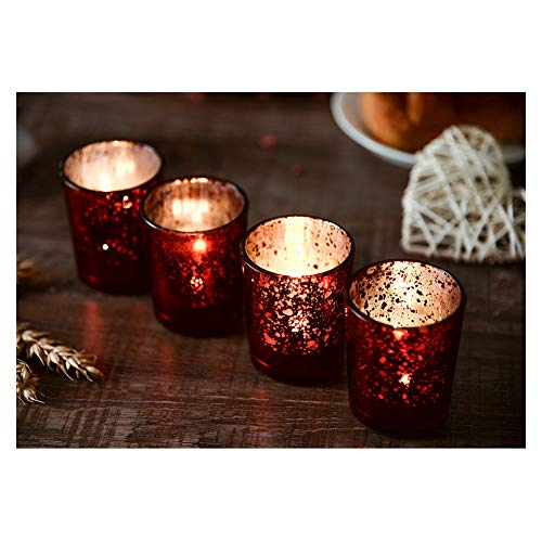 Supreme Lights Christmas Mercury Votive Candle Holders, Speckled Glass Tealight Holder, 2.45-inch Tall(Set of 12, Red)