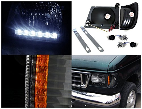 Amazon.com: FORD 92-06 BLACK ECONOLINE VAN LED HEADLIGHT w/CORNER LAMPS E250 E350: Automotive