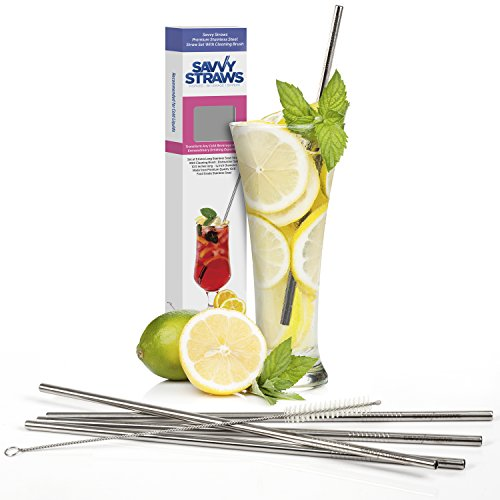 Stainless Steel Straws by Savvy Straws - Straight Extra Long 10.5 inch Length - Set of 5 Reusable Metal Drinking Straws + Cleaning Brush - Fit Popular To Go Cups & 20 + 30 oz Yeti Tumblers