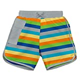 i play. Baby Boys Striped Pocket Board Shorts with Built-In Swim Diaper, Gray Multistripe, 18 Months