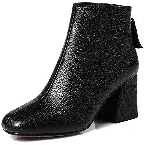 Negen Zeven Lederen Damesschoenen Met Vierkante Neus Dikke Hak Handgemaakte Eenvoudige Klassieke Enkellaarzen Zwart