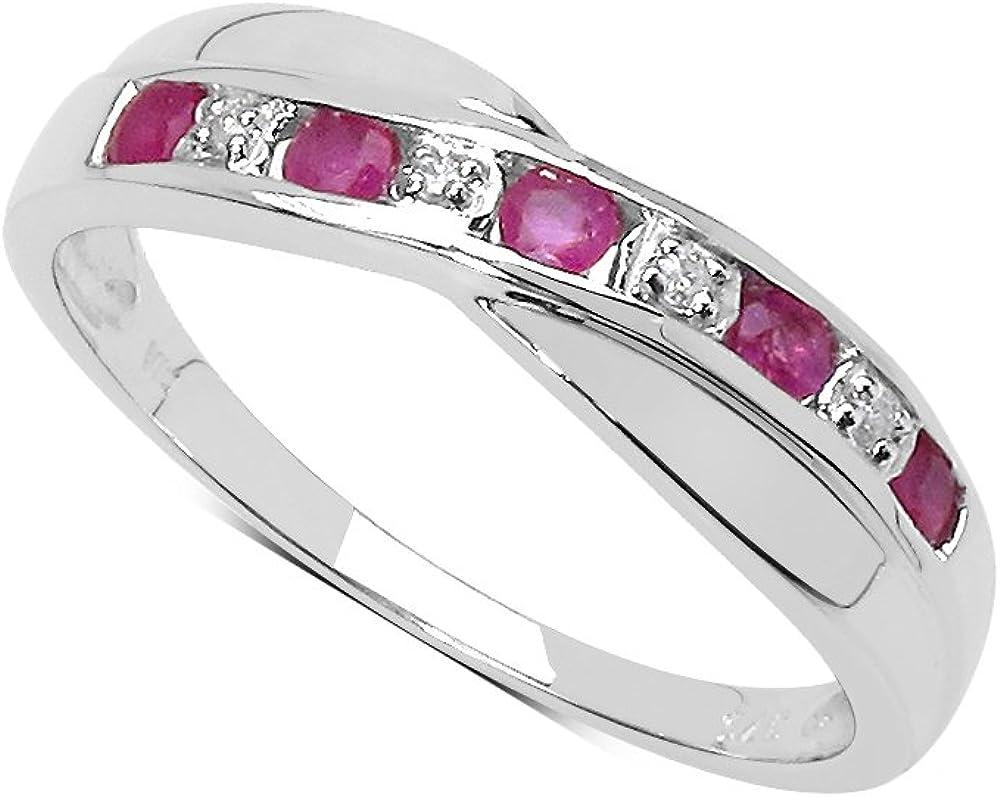 La Colección Anillo Diamantes: Anillo de Rubí y set de Diamantes anillo de plata, Perfecto para regalo, Anillo de Eternidad o Aniversario, Talla anillo 6,8,9,10,11,12,13,15,16,17,19,20,21,22,24,25