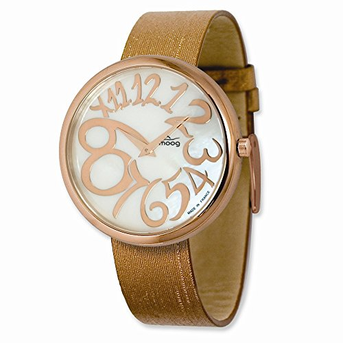 Rose-pltd Round Mop Dial Watch W/(pm-105rg) Brown Band by Moog Watches, Best Quality Free Gift Box ()