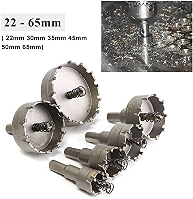 Hole Saw Drill Bit Carbide Tip TCT Opener 6pcs 22-65mm Stainless Steel Alloy UK
