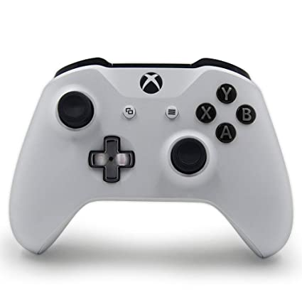 White Custom Wireless Controller Compatible Xbox One Console - Textured  Grip - 3 5mm Headset Jack - Chrome Steel Black D-pad - Grey on Black ABXY
