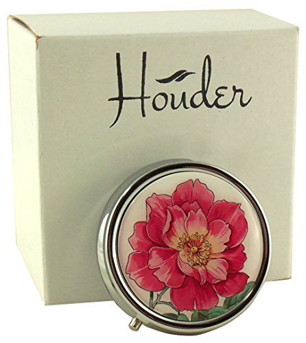 Designer Pill Box by Houder - Decorative Pill Case with Gift Box - Carry Your Meds in Style (Pink Flower)