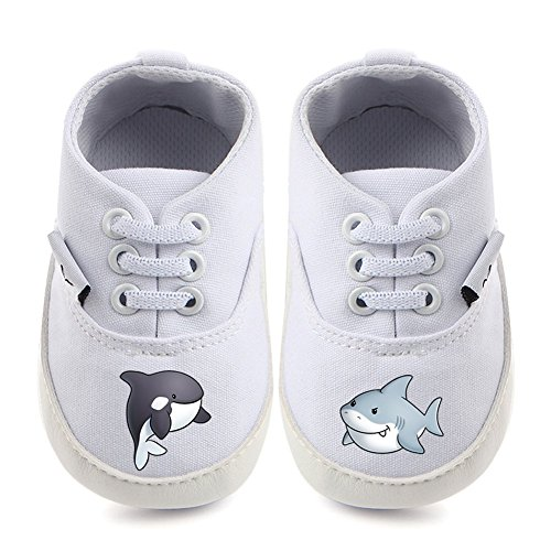 ing Baby Toddler Anti-Slip Sneaker Canvas Shoes 1-2 Years-white-whale-13cm ()