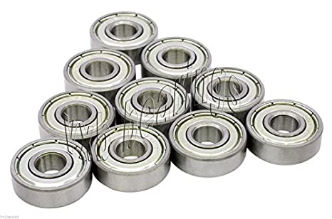 10 608ZZ 8x22x7 8mm//22mm//7mm 608Z Miniature Ball Shielded Radial Ball Bearings