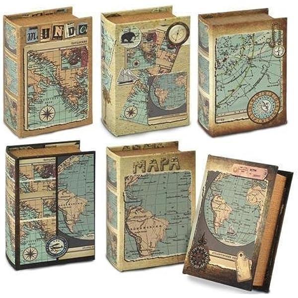 Caja Libro Mapa (1 unidad) 10x14 cm: Amazon.es: Hogar