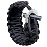 The Friendly Swede Adjustable Premium Paracord Bracelet with Fire Starter and Hidden Eye Knife (Black)