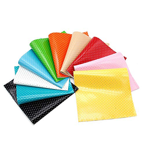 Set 10Pcs 8x13in Dots Spotted Faux Artificial Synthetic Leather Fabric Hair Bows Earring Jewelry Making-Leather Sheets Earring Making-Faux Artificial Synthetic Jewelry Bags Phone Case Projects