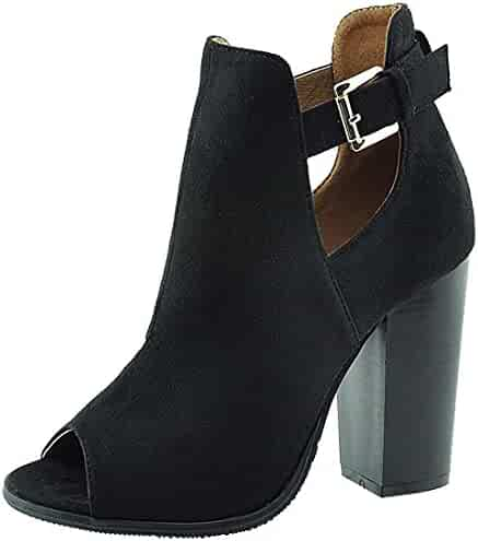9bdeb0470d7 Anna Shoes Women s Cutout Side Buckle Peep Toe Stacked Chunky Heel Ankle  Bootie