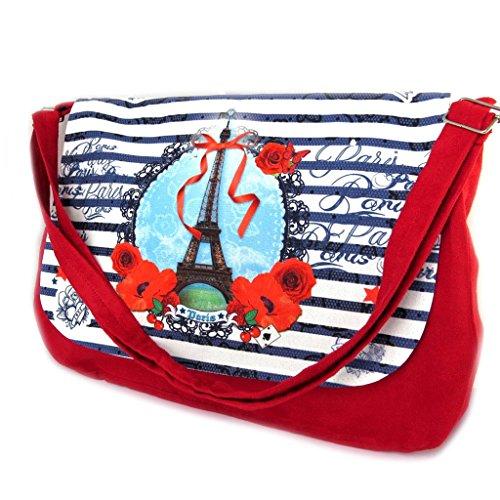 Hobo 'Tour Eiffel Tatouage'azul rojo blanco - 36x28x7 cm.