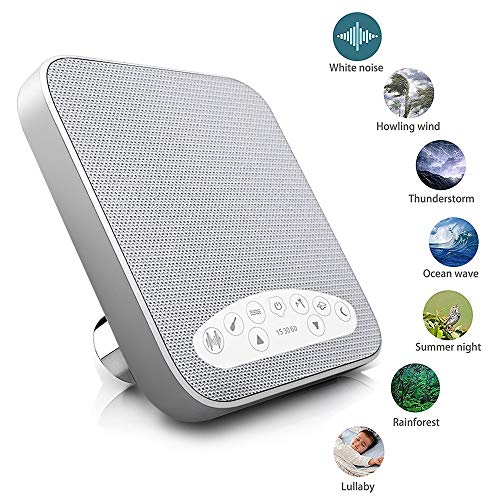 Premium Sleep Therapy Sound Machine – 6 Soothing All-Natural Sounds – White Noise, Fan, Ocean, Rain, Stream, and Summer Night – Plus Auto-Off Timer and USB Output Charger (White)