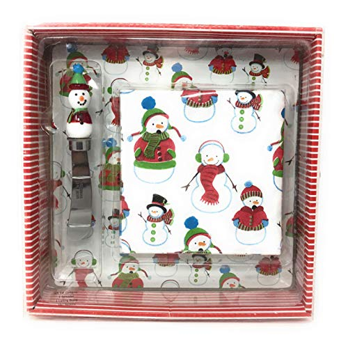 Nantucket Home Snowman Cheese Spreader Glass Board and Napkin Set (Red)