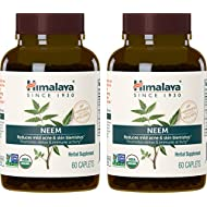 Himalaya Organic Neem, Equivalent to 5,383mg of Neem Powder, for Mild Acne & Skin Care, 60 Caplets, 4 Month Supply, (2 PACK)