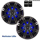 """Kicker OEM Replacement Charcoal 6.5"""" 4-Ohm Coaxial Marine Speakers"""