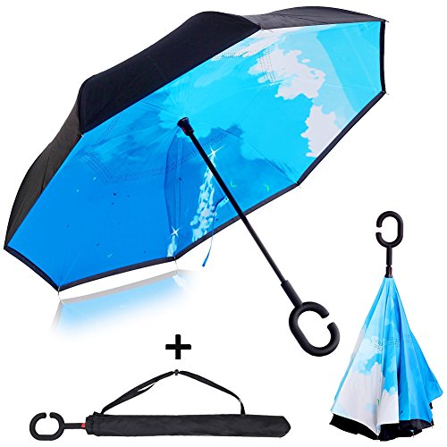 Double Layer Inverted Umbrella Windproof UV Proof Umbrella Reverse Folding Umbrella for Car,C shape Handle Travel Umbrella with Carrying Bags (Blue)