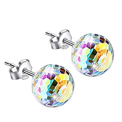 d3af745db0b8 S925 Sterling Silver Ball Colorful Crystal Stud Earrings LEKANI Crystals  from Swarovski Earring