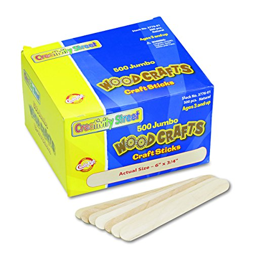 Chenille Kraft Natural Wood Craft Sticks, Jumbo Size, 6 x 3/4, Wood, Natural Wood, 500/Box (3776-01)]()