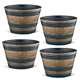 "Collections Etc Plastic Faux Wooden Garden Barrel Planters, Set of 4-13"" Diameter"