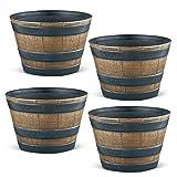 wine barrel pot - Collections Etc Plastic Faux Wooden Garden Barrel Planters, Set of 4-13