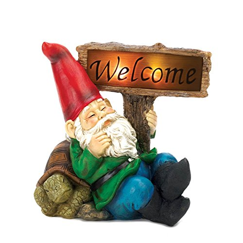 Summerfield Terrace Gnomes Statues, Funny Garden Gnomes, House Miniature Welcome Gnome Solar Statue (Welcome Sign Sleepy Gnome)