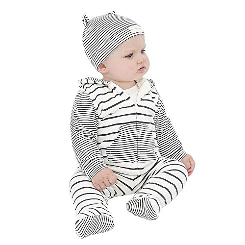 Newborn Boys Girls Clothes Set ML_Victor Baby Striped Hooded Tops Pants Leggings Hat Set 3Pcs Outfits (Brother And Sister Halloween Outfits)