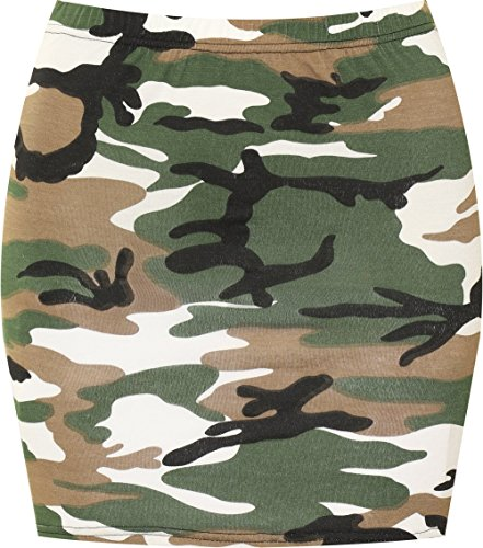 jersey 42 court 36 extensible Tailles mini Jupes Camouflage elastiqu Imprim Femmes moulant WearAll jupe BwtqI7B