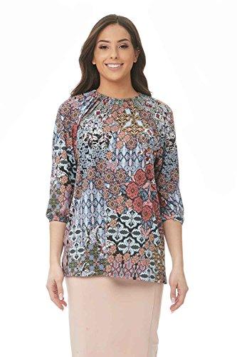 Esteez Womens 3/4 Sleeve Loose Fitting Top Jasmine Blue Mosaic - Mosaic Shirt