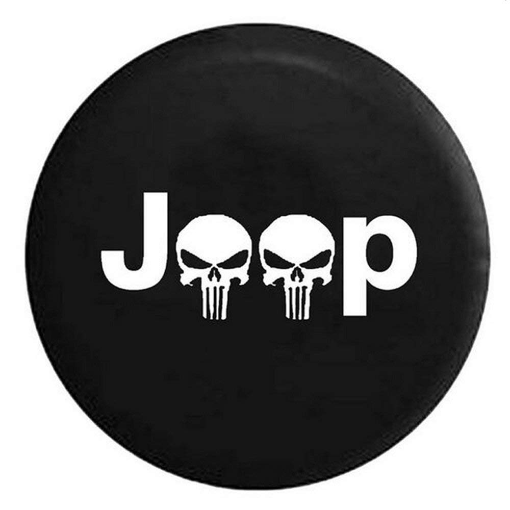 Wooleagoo Spare Wheel Tire Cover Soft Protector Fit J eep L iberty W rangler C herokee Spare Wheel Tire Skull Soft Cover Case (17')