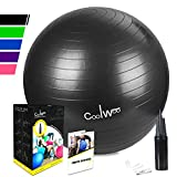 Exercise Ball, Yoga Ball 75cm Black, Anti Burst for Pilates, Balance, Fitness & Stability with Manual Pump by Coolwoo