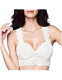 Alpinia Wireless Racerback Bras Comfortable Floral Lace Sexy Lingerie for Women