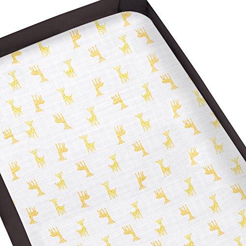 Aden by Aden + Anais Pack 'n Play Playard Crib Sheet, 100% Cotton Muslin, Super Soft, Breathable, Snug Fit Safari Babes- Giraffe