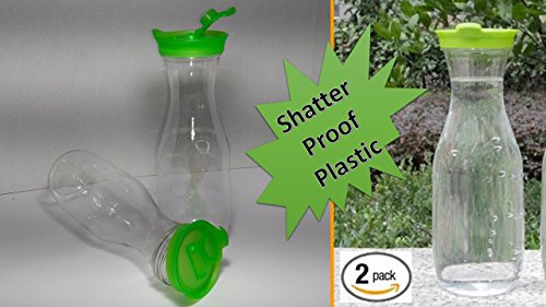 Unbreakable Carafe - Plastic Beverage Carafe - Plastic Wine Decanters (2 Pc) Ideal for Serving Juices Cocktails Infused Water, and More - Plastic Barware