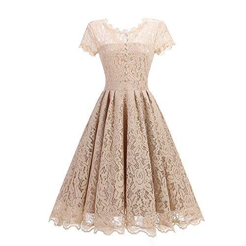 2019 Round Collar lace Retro Full-Length Slim Dress Christmas Dress Dresses Woman Party Night Vestidos Women,Apricot,XXL,China