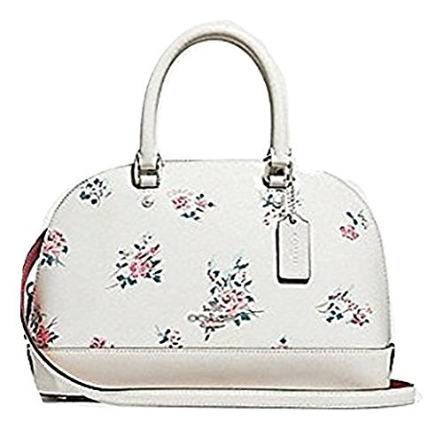 COACH MINI SIERRA SATCHEL WITH CROSS STITCH FLORAL PRINT, F25857, WHITE