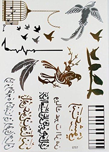GGSELL waterproof and non toxic Black & Silver & Gold metallic tattoo birds,birdcage, feathers, piano, Metallic Temporary Tattoos for women by GGSELL