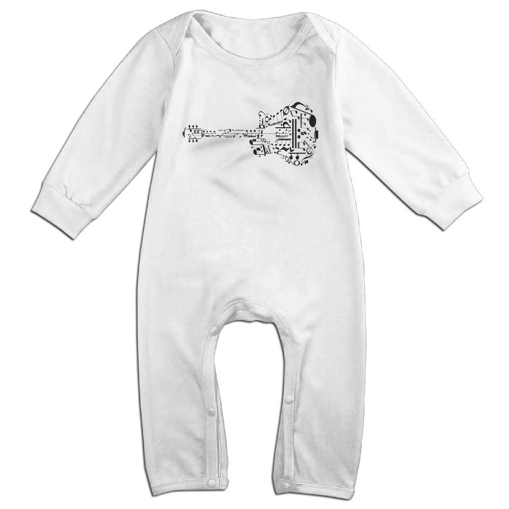 Mri-le1 Toddler Baby Boy Girl Bodysuits Guitar Music Notes Baby Rompers