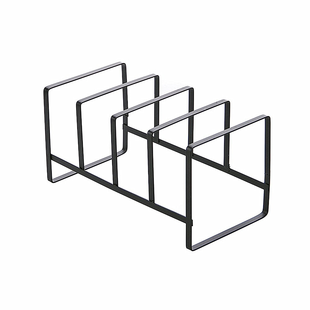 Huayoung 4-compartment Black Metal Vertical Plate Holder Cutting Board Rack Kitchen Dish Plate Storage Organizer